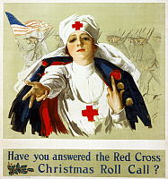 0162781 © Granger - Historical Picture ArchiveRED CROSS POSTER, c1918.   American Red Cross recruitment poster during World War I. Lithograph by Harrison Fisher, c1918.