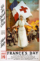 0162783 © Granger - Historical Picture ArchiveRED CROSS POSTER, 1915.   English poster for a fundraiser to aid the French Red Cross during World War I. Lithograph, 1915.