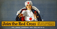 0162815 © Granger - Historical Picture ArchiveRED CROSS POSTER, 1917.   American Red Cross recruiting and fundraising poster during World War I. Lithograph by Harrison Fisher, 1917.