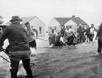 0176161 © Granger - Historical Picture ArchiveRHODE ISLAND: FLOOD, 1954.   American Red Cross volunteers evacuating families from a flooded area of Misquamicut, Rhode Island, during Hurricane Carol. Photograph, 31 August 1954.