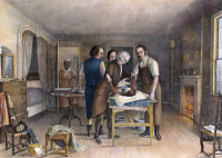 0009623 © Granger - Historical Picture ArchiveEPHRAIM McDOWELL, 1809.   Dr. Ephraim McDowell performing the first recorded operation in ovarian surgery in the United States at Danville, Kentucky, in December 1809. Lithograph, 19th century.
