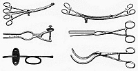0116775 © Granger - Historical Picture ArchiveSURGICAL INSTRUMENTS.   Various surgical instruments for operations involving the intestines, gall bladder, and stomach. Wood engravings, late 19th century.