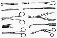 0116776 © Granger - Historical Picture ArchiveSURGICAL INSTRUMENTS.   Various surgical instruments for use in general operations. Wood engravings, late 19th century.