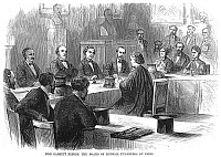 0002101 © Granger - Historical Picture ArchiveEXAMINATION, 1870.   Miss Garrett, an American who became Doctor of Medicine of the faculty of Paris, France, sitting for her examination before the French board of medical examiners. Wood engraving, American, 1870.