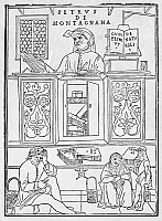 0079529 © Granger - Historical Picture ArchiveMEDICAL LECTURE, 1522.   Petrus de Montagnana in the Lecture Chair at Padua. Woodcut attributed to Gentile Bellini from Johannes de Ketham's 'Fasciculus Medicinae,' 1522.