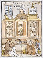 0085586 © Granger - Historical Picture ArchiveMEDICAL LECTURE, 1522.   Petrus de Montagnana in the lecture chair at Padua. Woodcut attributed to Gentile Bellini from Johannes de Ketham's 'Fasciculus Medicinae,' 1522.