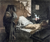 0118677 © Granger - Historical Picture ArchiveRADIOLOGIST, c1930.   A radiologist using x-rays to repel Death, personified as a skeleton wearing a shroud, as it approaches a young woman on an operating table. Etching by Ivo Saliger, c1930.