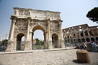 0165475 © Granger - Historical Picture ArchiveROME: ARCH OF CONSTANTINE.   Triumphal arch of Roman Emperor Constantine I, erected 315 A.D., at Rome. To the right is the Colosseum. Photograph, 24 July 2007. Full credit: CARO/Rodriguez - ullstein bild / Granger, NYC -- All rights reserve
