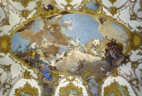0354442 © Granger - Historical Picture ArchiveTIEPOLO: APOLLO.   Apollo presenting Beatrice of Burgundy to Emperor Frederick Barbarossa as his bride. Ceiling fresco, 1751, by Giovanni Battista Tiepolo, in the Imperial Hall of the Würzburg Residence, Würzburg, Bavaria.
