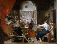 0039181 © Granger - Historical Picture ArchiveTHE SPINNERS.   'The Fable of Arachne.' Oil by Diego Velazquez, c1655.