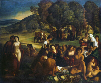 0354490 © Granger - Historical Picture ArchiveBACCHANAL.   Oil on canvas, c1515-20, Ferrarese school, formerly attributed to Dosso Dossi.