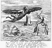 0005423 © Granger - Historical Picture ArchiveDAEDALUS AND ICARUS.   The Fall of Icarus. Line engraving, French, 1660.
