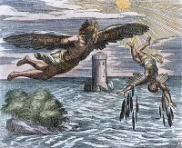 0008793 © Granger - Historical Picture ArchiveDAEDALUS AND ICARUS.   French colored engraving, 1660.