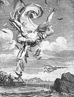 0036837 © Granger - Historical Picture ArchiveFALL OF ICARUS.   Copper engraving, French, 1731, by Bernard Picart.