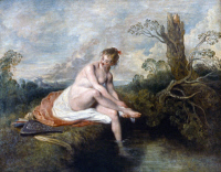 0027557 © Granger - Historical Picture ArchiveWATTEAU: DIANA BATHING.   Oil on canvas, c1716, by Jean-Antoine Watteau.
