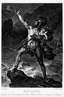 0096599 © Granger - Historical Picture ArchiveMETABUS AND CAMILLA.   After being deposed as king by the Volsci, Metabus appeals to the goddess Diana as he flees with his infant daughter, Camilla. Line engraving, French, 19th century, after the painting, c1817, by Leon Cogniet.