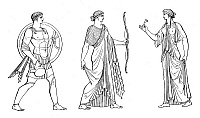 0269033 © Granger - Historical Picture ArchiveMARS, DIANA AND VENUS.   Roman dieties. Mars, god of war; Diana, goddess of the hunt; and Venus, goddess of love and fertility. Line drawing.