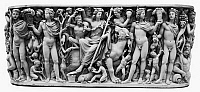 0131155 © Granger - Historical Picture ArchiveROMAN RELIEF: DIONYSUS.   Roman relief from the so-called Badminton sarcophagus, representing the triumph of Dionysus and the Four Seasons. Marble, c260-270 A.D.