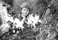 0036957 © Granger - Historical Picture ArchiveFAIRY HOAX.   Frances Griffiths and the 'Cottingley Fairies' in a photograph made in 1917 by her cousin Elsie Wright with paper cutouts and hatpins. This photograph and others were considered genuine by a number of English spiritualists, including Sir Arthur Conan Doyle.