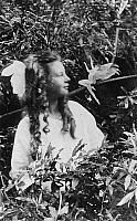 0118597 © Granger - Historical Picture ArchiveFAIRY HOAX, 1920.   Frances Griffiths and a leaping fairy, in a photograph made in 1920 by her cousin Elsie Wright with a paper cutout.