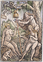 0104723 © Granger - Historical Picture ArchiveTHE FATES.   The three Fates, Lachesis, Atropos, and Clotho. Woodcut, 1513, by Hans Baldung Grien.