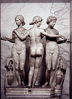 0039946 © Granger - Historical Picture ArchiveTHREE GRACES.   Roman copy of the original Greek group of the 1st century B.C.