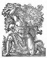 0042843 © Granger - Historical Picture ArchiveHERCULES & THE NEMEAN LION.   Hercules performing his first labor, the strangling of the Nemean lion. Woodcut, 1599, by Jost Amman.