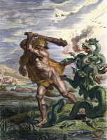0046745 © Granger - Historical Picture ArchiveHERCULES & THE HYDRA.   The Combat Between Hercules and the Hydra. Line engraving, French, late 18th century.
