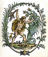 0079814 © Granger - Historical Picture ArchiveMYTHOLOGY: HERCULES.   Hercules slaying the Hydra. Detail of an Italian colored woodcut title-page, 1550.