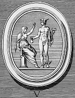 0001465 © Granger - Historical Picture ArchiveMERCURY AND PUDICITIA.   Mercury (Greek name Hermes), giver of fertility, offering his purse to Pudicitia, personification of chastity, who refuses it. Copper engraving, French, 18th century.