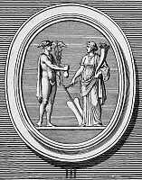 0030579 © Granger - Historical Picture ArchiveMERCURY AND FORTUNE.   Mercury (Greek name Hermes) giving up his purse to Fortune. Copper engraving, French, late 18th century.