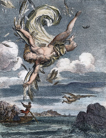 0010737 © Granger - Historical Picture ArchiveFALL OF ICARUS.   Copper engraving, French, 1731, by Bernard Picart.
