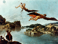 0023813 © Granger - Historical Picture ArchiveCARLO SARACENI: ICARUS.   'The Fall of Icarus.' Oil on copper by Carlo Saraceni (c1580-1620).