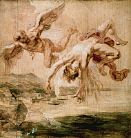0029215 © Granger - Historical Picture ArchiveRUBENS: FALL OF ICARUS, 1637.   'The Fall of Icarus.' Oil sketch on wood by Peter Paul Rubens, c1637.
