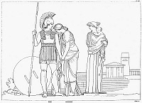 0000159 © Granger - Historical Picture ArchiveHOMER: THE ILIAD.   The meeting of Hector and Andromache. Line engraving, 1805, by James Parker after the drawing by John Flaxman.