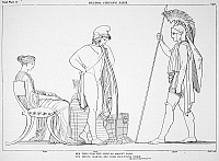 0017278 © Granger - Historical Picture ArchiveHOMER: THE ILIAD.   Hector, dressed for battle, scolds Paris who is wearing a peasant's hat or kyne, symbolizing inactivity. Line drawing by John Flaxman, c1792.