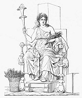 0033396 © Granger - Historical Picture ArchiveDEMETER/CERES.   The Greek goddess (Roman goddess Ceres) of the growth of food plants, enthroned with her attribute of wheat.   Line engraving after a wall painting in Pompeii, Italy, 19th century.