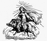 0047080 © Granger - Historical Picture ArchiveMYTHOLOGY: FRO (FREYR).   Nordic-Germanic goddess of fertility, of the sun and rain. Line engraving, 19th century.