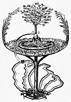 0064878 © Granger - Historical Picture ArchiveMYTHOLOGY: YGGDRASILL.   The evergreen ash tree that overshadows the whole universe in Nordic-Germanic mythoogy. Line engraving from Finn Magnusen's 'Eddalaeren,' Copenhagen, Denmark, 1824.
