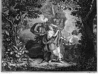 0096426 © Granger - Historical Picture ArchiveATALANTA AND MELEAGER.   Meleager's mother, Althaea, burns the brand. Copper engraving, Dutch, 18th century, after a painting by Charles Le Brun (1619-1690).