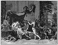 0096427 © Granger - Historical Picture ArchiveATALANTA AND MELEAGER.   The death of Meleager. Copper engraving, Dutch, 18th century, after a painting by Charles Le Brun (1619-1690).