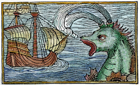 0065258 © Granger - Historical Picture ArchiveSEA MONSTER, 1555.   One of the sea monsters thought to inhabit the 'Sea of Darkness' to the west and south of Europe. Woodcut from Swedish geographer Olaus Magnus' 'Historia de Gentibus Septentrionalibus', Rome, 1555.