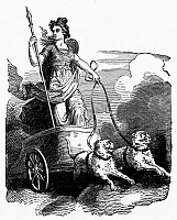 0101681 © Granger - Historical Picture ArchiveMYTHOLOGY: FRIGG (FREYJA).   Nordic-Germanic goddess of love, marriage, and of the dead. Line engraving.