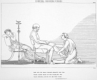 0000727 © Granger - Historical Picture ArchiveHOMER: THE ODYSSEY.   Odysseus recognized by his aged nurse Euryclea. Line engraving, 1805, after the drawing by John Flaxman.