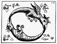0036456 © Granger - Historical Picture ArchiveOUROBOROS, 1760.   Ouroboros as a crowned double-dragon, symbolizing the four elements. Line engraving from Abraham Eleazar's 'Uraltes Chymisches Werk,' Leipzig, Germanmy, 1760.