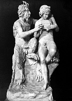 0003682 © Granger - Historical Picture ArchiveMYTHOLOGY: PAN.   Pan teaching Olympo to play the pipes. Antique sculpture of Roman date.
