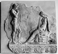 0131160 © Granger - Historical Picture ArchiveTHESEUS AND ARIADNE.   Farewell scene between Theseus and Ariadne. Roman terracotta relief fragment, 1st century A.D.