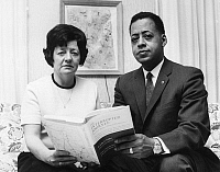 0100663 © Granger - Historical Picture ArchiveALIEN WITNESSES, 1967.   Betty and Barney Hill holding a copy of a book about their supposed abduction by a flying saucer in September 1961.