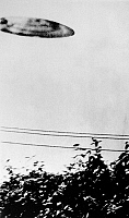 0216288 © Granger - Historical Picture ArchiveCALIFORNIA: UFO, 1956.   A flying saucer allegedly photographed by a 15-year-old in San Bernadino, California, July 1956.