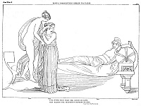 0017276 © Granger - Historical Picture ArchiveHOMER: THE ILIAD.   Venus has led Helen to Paris' palace where he lies upon a couch. Line drawing by John Flaxman (1755-1826), c1792.